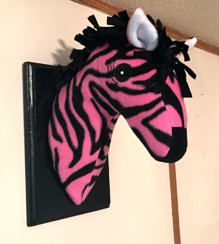 Amazon Com Stuffed Pink Zebra Head Stuffed Animal Head Faux Animal