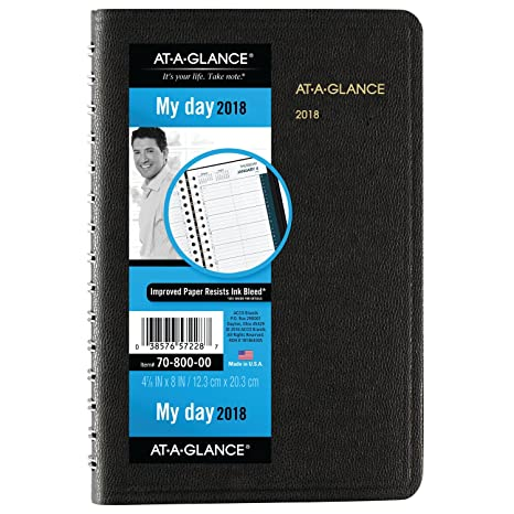 AT-A-GLANCE Daily Appointment Book / Planner, January 2018 - December 2018, 4-7/8