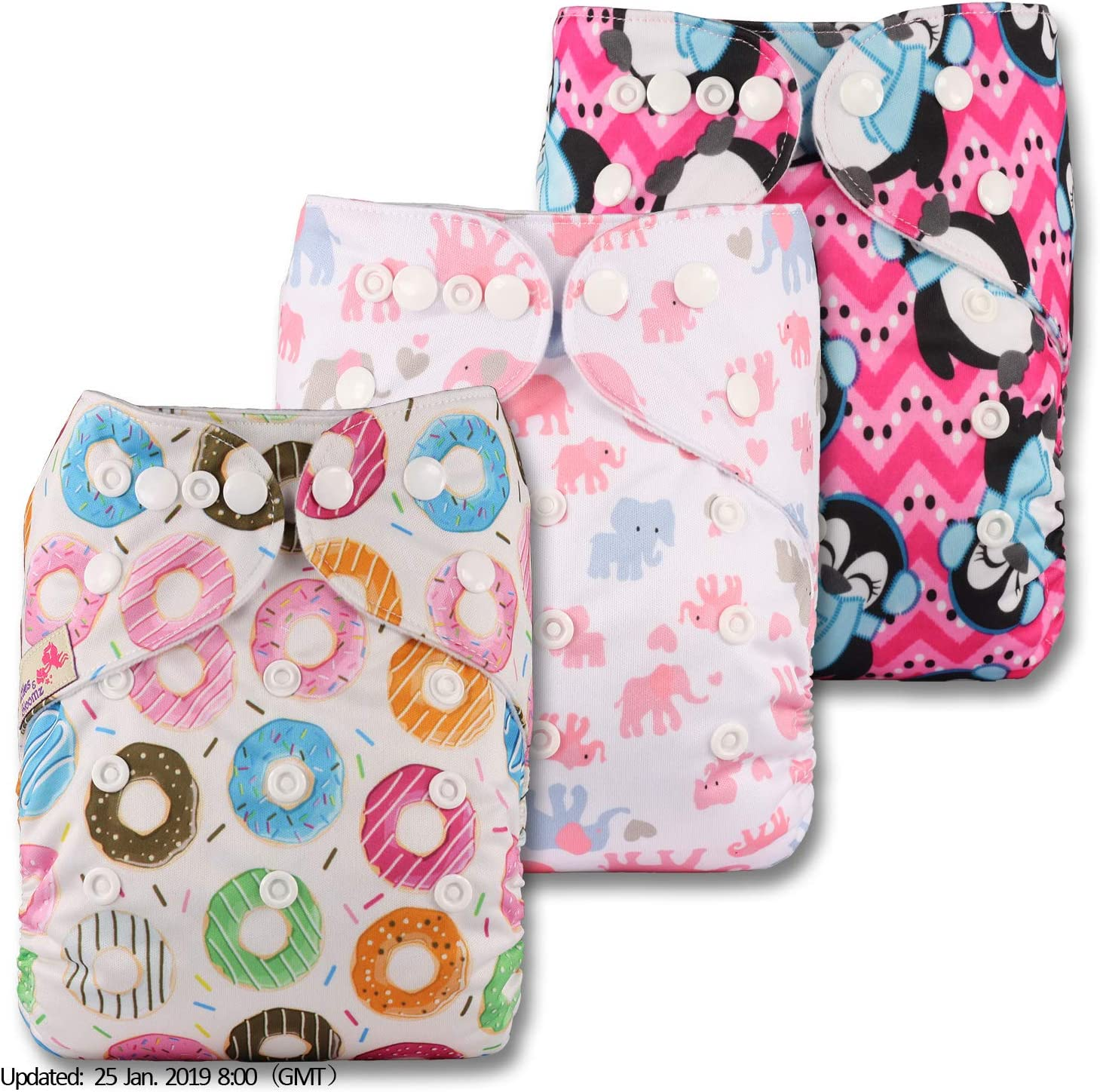 Fastener: Popper Set of 3 with 3 Bamboo Charcoal Inserts Patterns 329 Reusable Pocket Cloth Nappy Littles /& Bloomz