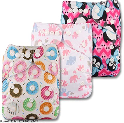 Littles /& Bloomz Fastener: Popper Set of 3 Reusable Pocket Cloth Nappy with 6 Bamboo Charcoal Inserts Patterns 301