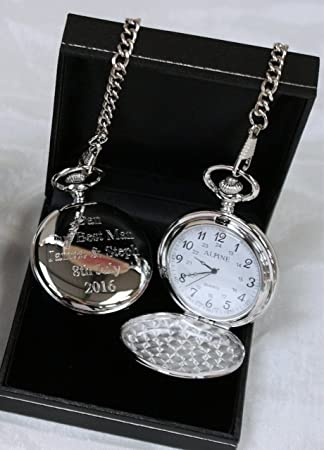 Engraved Personalised Pocket Watch In Gift Box 18th 21st 40th 50th