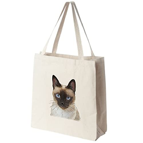 26f4c4c6eb Amazon.com: Siamese Cat Portrait Color Design Extra Large Eco Friendly  Reusable Cotton Canvas Grocery Shopping Tote Bag: Handmade