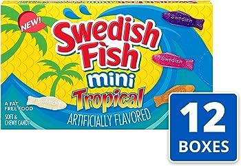 12-Pack Swedish Fish Mini Tropical Fat Free Candy Theater Box