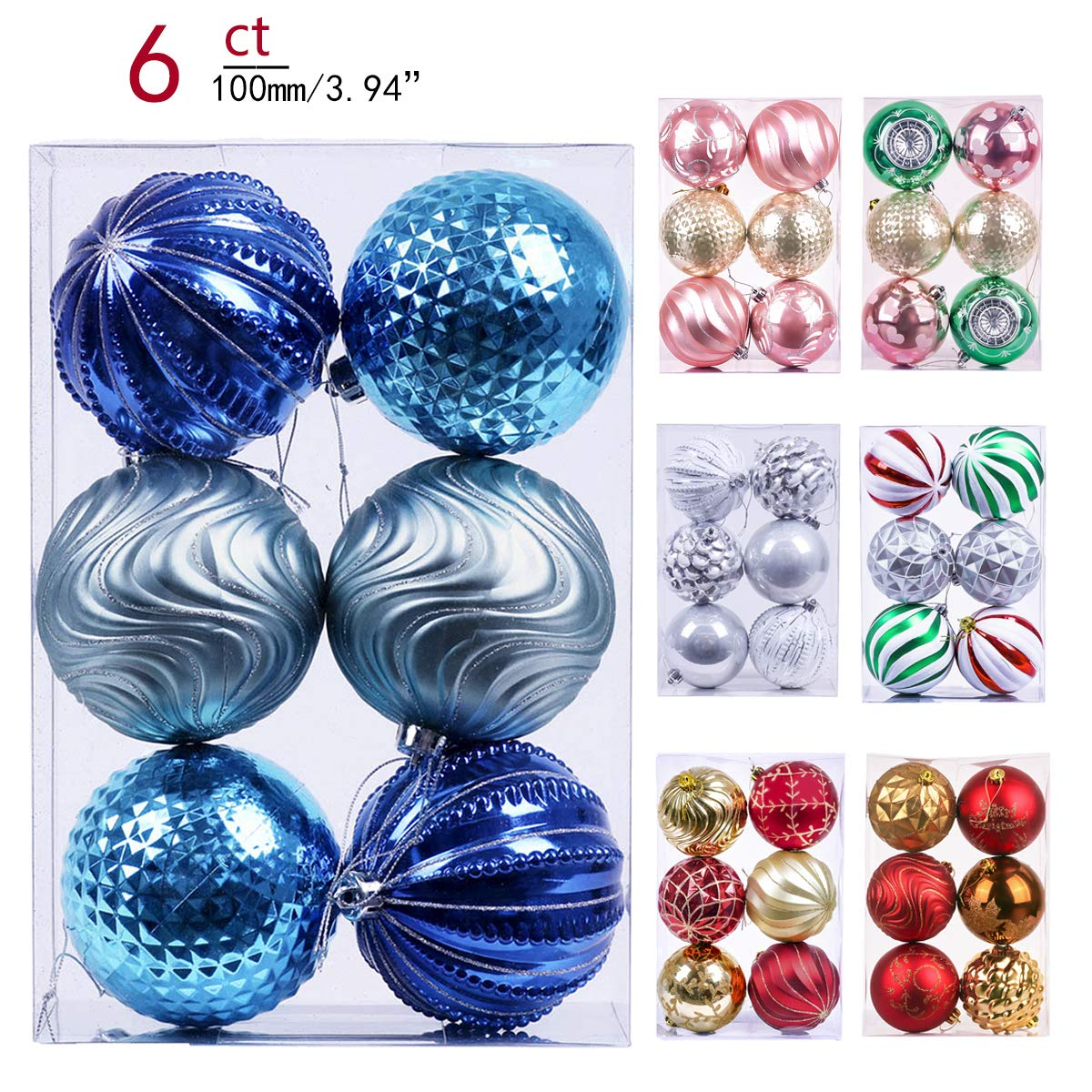 Valery Madelyn 6ct 100mm Babys First Christmas Shatterproof Christmas Ball Ornaments Decorationthemed Tree Skirtnot Included Eg0101 0174