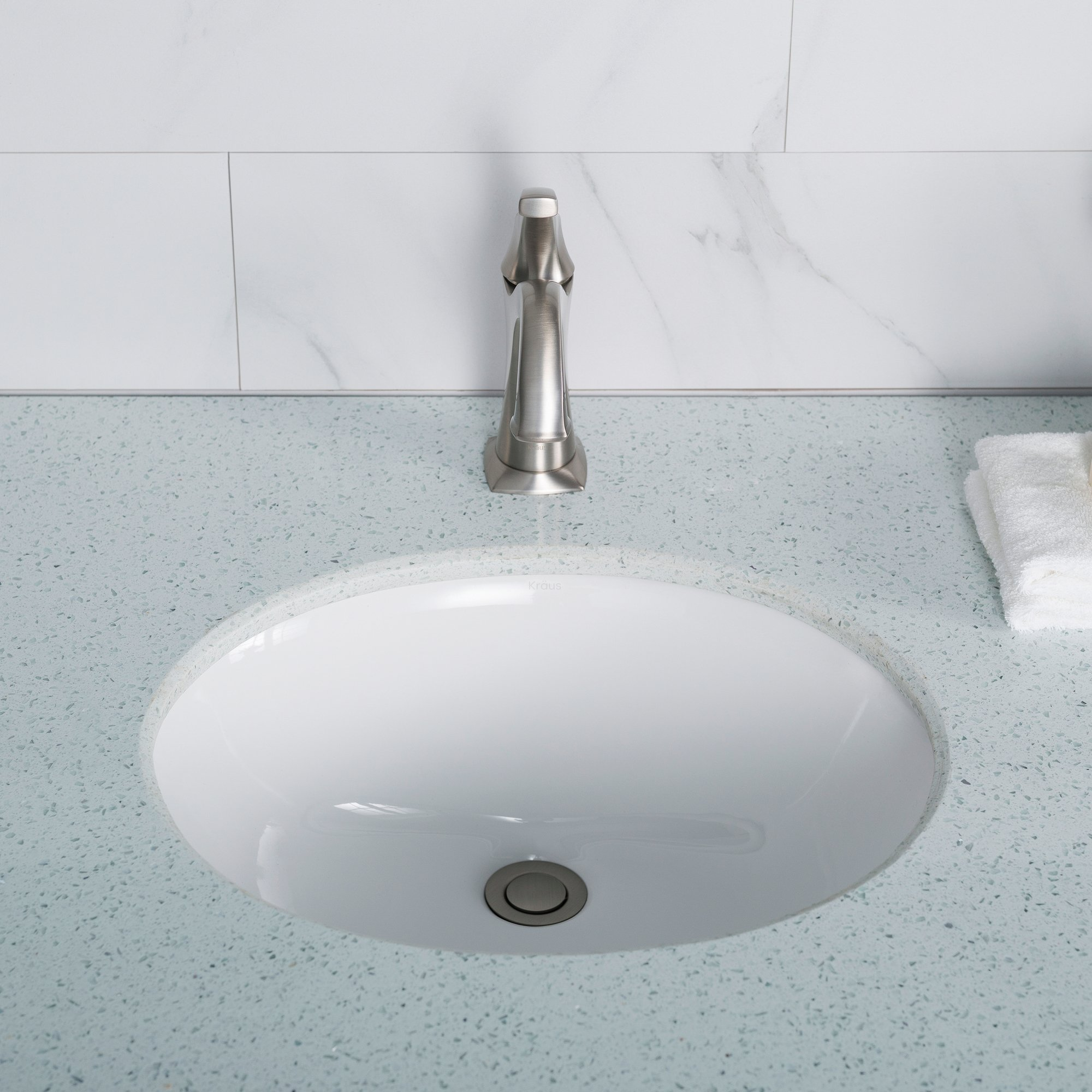 KRAUS Elavo 17 Inch Oval Undermount Porcelain Ceramic Bathroom Sink in White with Overflow, KCU-211 by Kraus (Image #3)