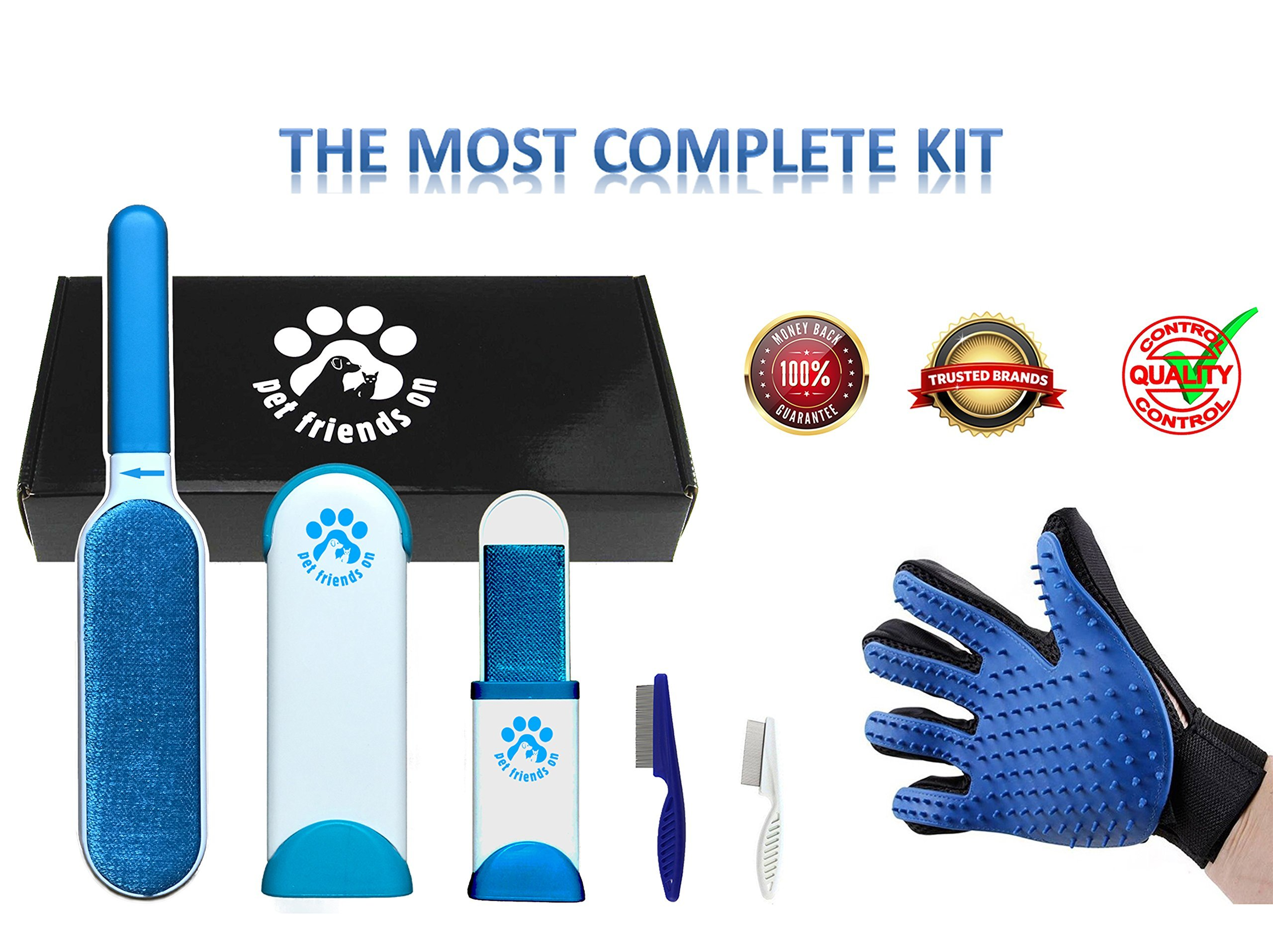 Fur Remover - Lint Brush - Pet Hair Brush With Self Cleaning Base - Dog & Cat Grooming Glove - Efficient Animal Hair Removal Tool - Two Combs Bonus Box by Pet Friends On