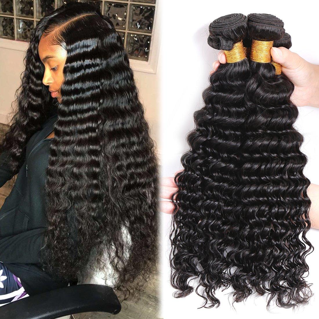 Best Hair Extensions Brazilian Human Hair Deep Wave 3 Bundles 100