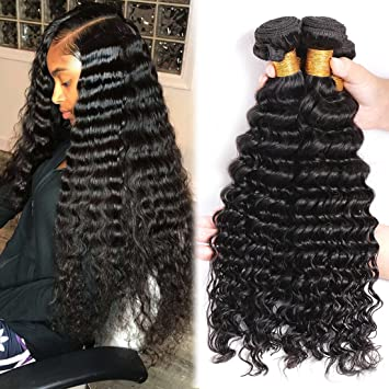 Amazon Brazilian Human Hair Deep Wave 3 Bundles 100