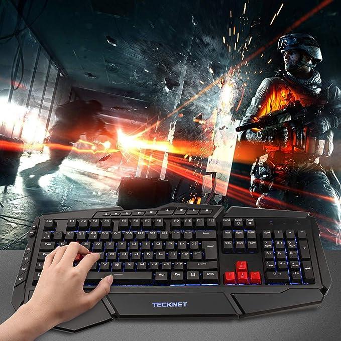 TeckNet Teclado para juegos, Kraken Rainbow LED retroiluminado juego de teclado y ratón, diseño de Reino Unido, diseño resistente al agua rojo rosso ...