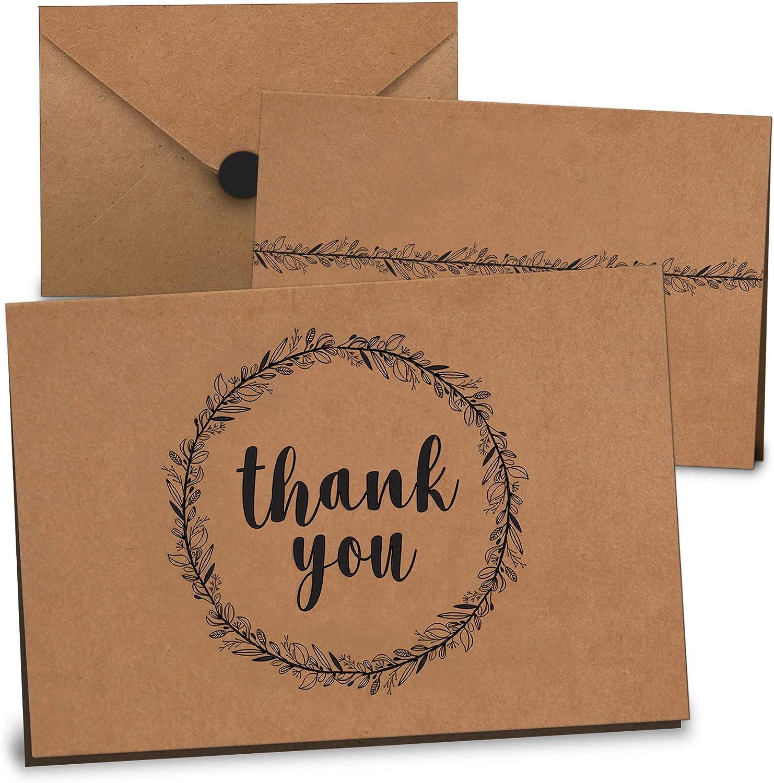 Bulk for Business 50 card boxed set Premium Basic Thank You Cards assortment
