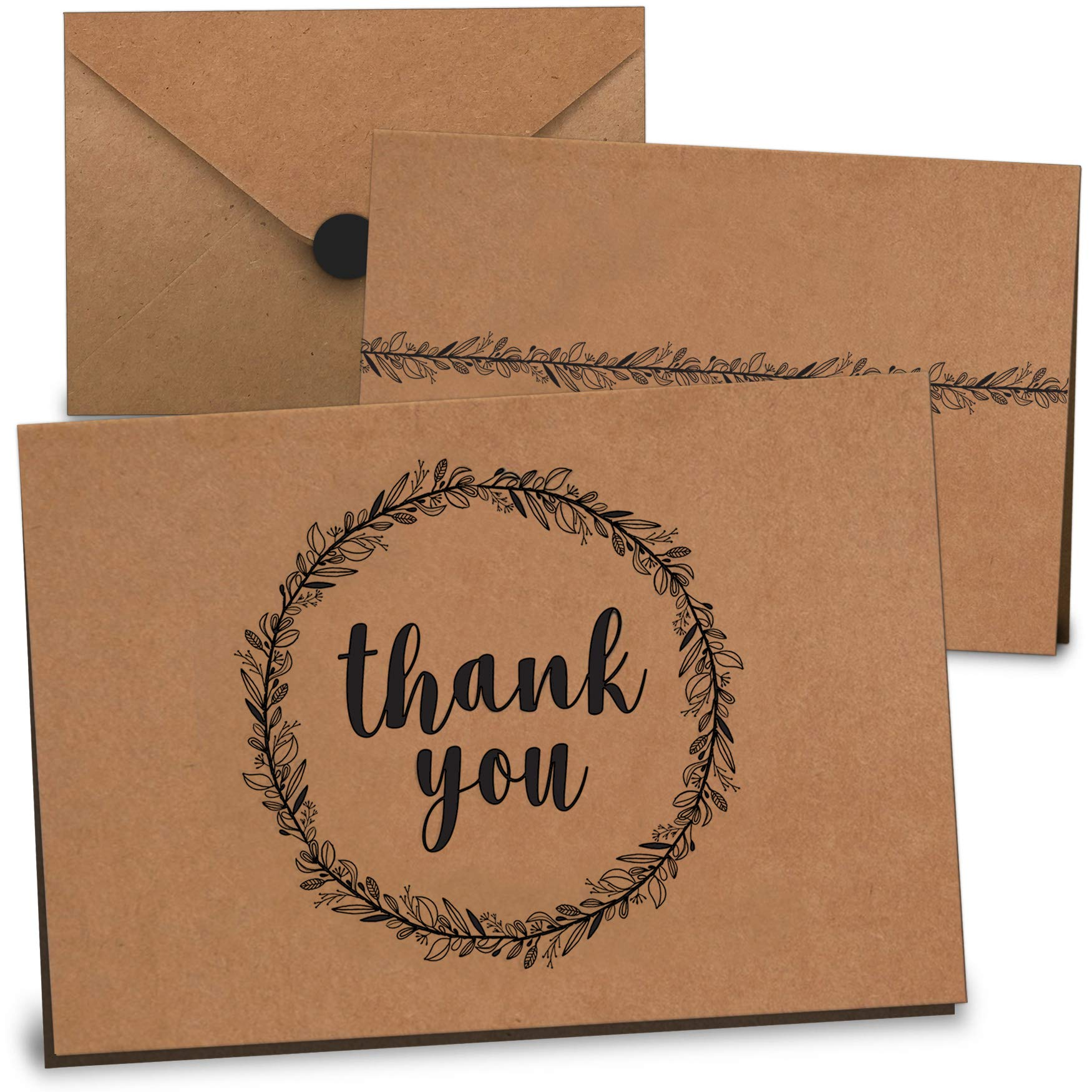 Thank You Cards Bulk Set of 100 - Includes Thank You Notes, Blank Cards with Envelopes & Stickers - Perfect for Business, Wedding, Graduation, Bridal & Baby Shower, Funeral - Floral Kraft Paper Design