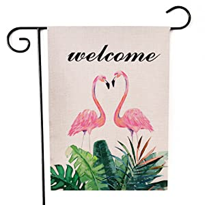Ogiselestyle Welcome Summer Garden Flag Hello Flamingo Double Sided Decorative House Small Yard Decor Flags for Indoor & Outdoor Decoration 12 X 18 Inch