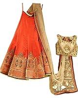 Surat4fashion Women's Silk Lehenga Choli (Red_Patel_Red_Free Size)