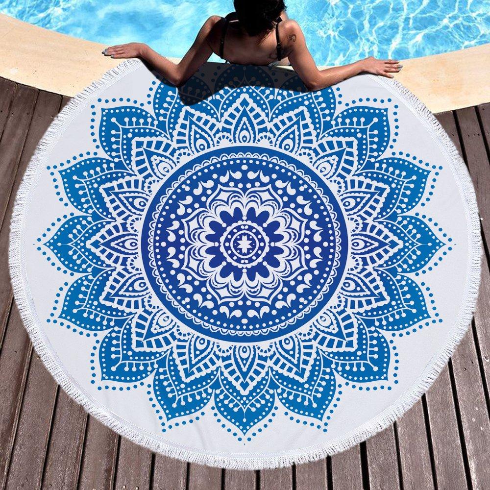 Amazon.com: BestDragon Fashion Bonenjoy Blue Color Bohemia Beach Towel Mandala Round Tassel Yoga Mat Toalla Beach Towel Diameter 150cm: Home & Kitchen