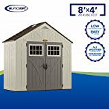 Suncast 4' x 8' Tremont Storage Shed with Windows - Natural Wood-Like Outdoor Storage for Power Equipment and Yard Tools - All-Weather Resin Material, Skylights and Shingle Style Roof