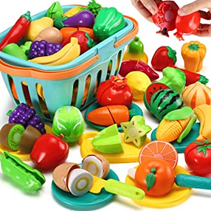 70 PCS Cutting Play Food Toy for Kids Kitchen, Pretend Fruit &Vegetables Accessories with Shopping Storage Basket, Plastic Mini Dishes and Knife, Educational Toy for Toddler Children Birthday Gift