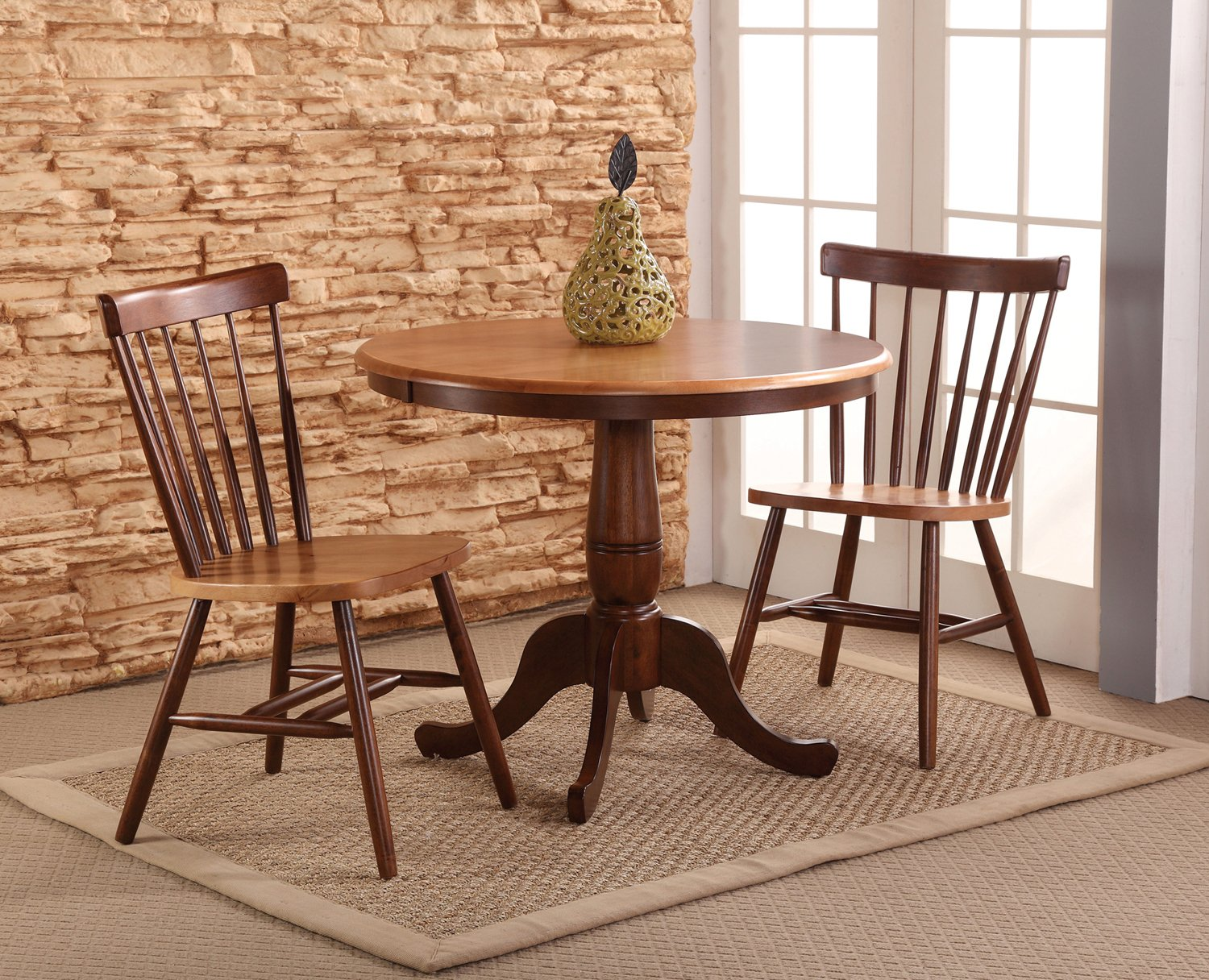 International Concepts 36-Inch Round Pedestal Table with 2 Copenhagen Chairs, Set of 3 by International Concepts