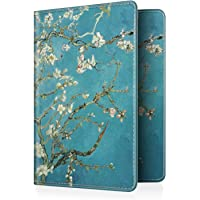 Fintie Passport Holder Travel Wallet - Premium Vegan Leather RFID Blocking Case Cover - Securely Holds Passport Business Cards Credit Cards Boarding Passes Blossom