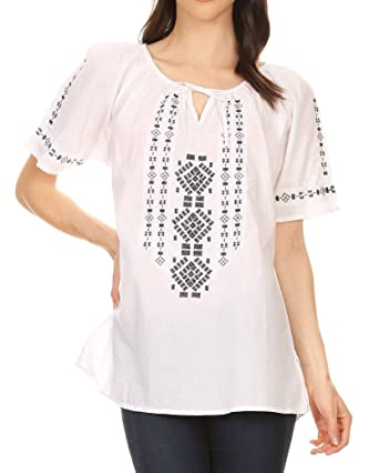 Sakkas Lena Cross Stitch Embroidered Short Sleeve Casual Top Blouse