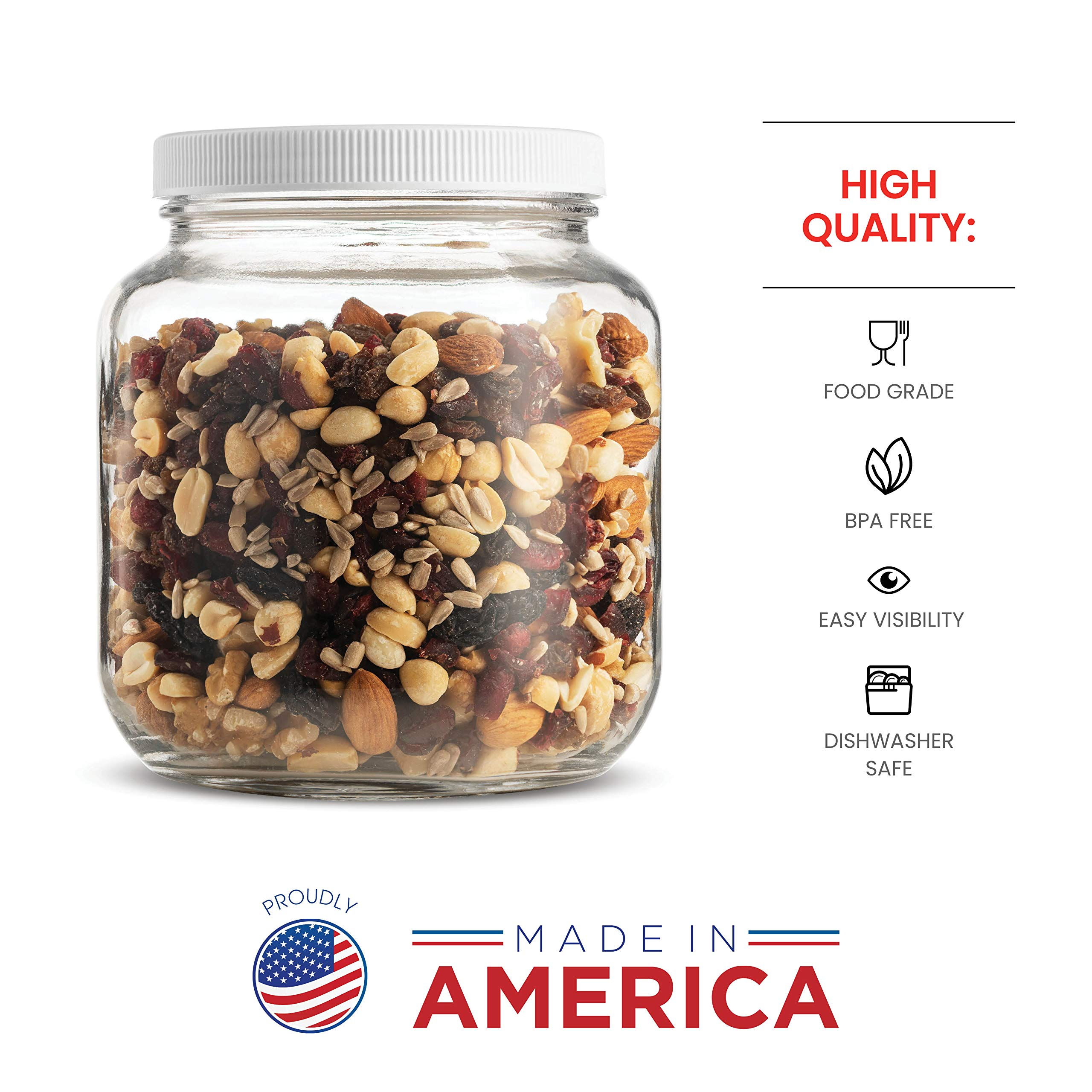 Half Gallon Glass Mason Jar (64 Oz - 2 Quart) - 4 Pack - Wide Mouth, Plastic Airtight Lid, USDA Approved BPA-Free Dishwasher Safe Canning Jar for Fermenting, Sun Tea, Kombucha, Dry Food Storage, Clear by Paksh Novelty (Image #4)