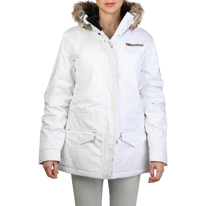 Geographical Norway - Abrigo de invierno con capucha forrada de pelo modelo Atlas para mujer (40-42/Blanco): Amazon.es: Ropa y accesorios