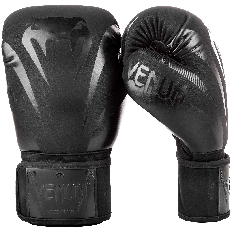 Adultos Unisex Negro Mate Venum Impact Guantes de Boxeo