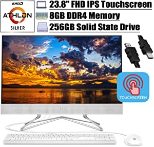 "2020 Flagship HP 24 All in One Desktop Computer 23.8"" FHD IPS Touchscreen Display AMD Athlon Silver 3050U (Beats i5-7200U) 8GB DDR4 256GB SSD DVD Webcam WiFi Keyboard Mouse Win 10 + iCarp HDMI Cable"