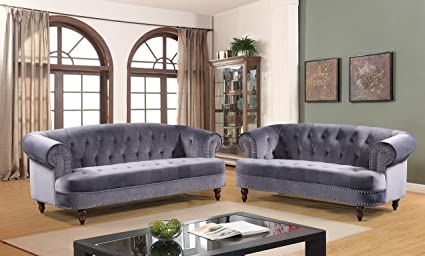 Container Furniture Direct S5400-2PC Vivian Modern Velvet Upholstered  Nailhead Trim 2 Piece Living Room Set Grey