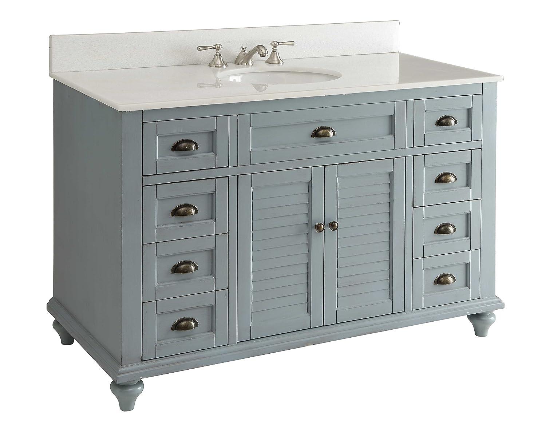 Glennville Cottage Bathroom Vanity Cabinet Set In Light Blue