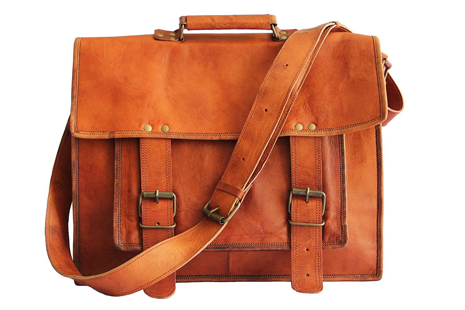18 Inches Brown Leather Cross-body Messenger Bag/Leather Laptop Bag for Men/women Syon FBA_BC21327