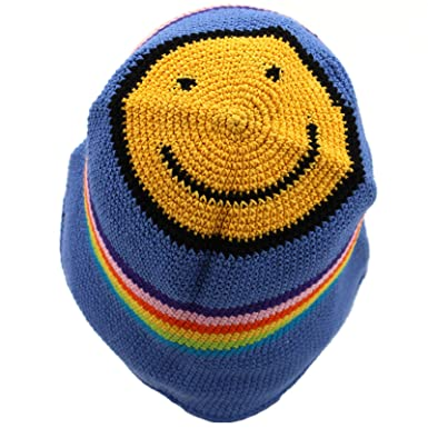 f68731334bc Image Unavailable. Image not available for. Colour: Loud Hats CROCHET  BUCKET HAT HIPPIE FESTIVAL BLUE RAINBOW ...