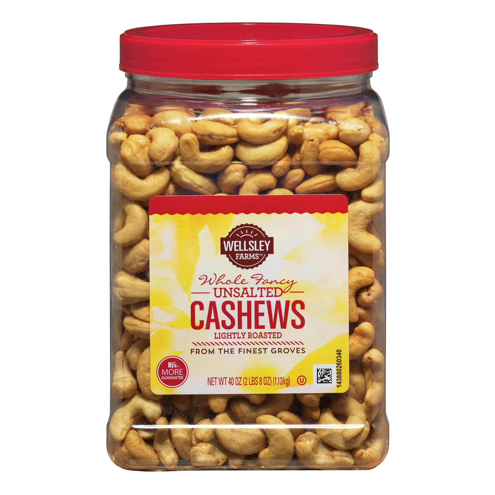 Wellsley Farms Unsalted Roasted Whole Cashews, 2.5 lbs. (pack of 6)