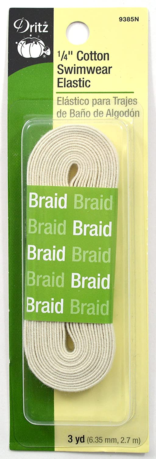 Dritz 9485N Cotton Swimwear Braided Elastic, Natural, 1/4-Inch by 75-Yard Notions - In Network 9485-N