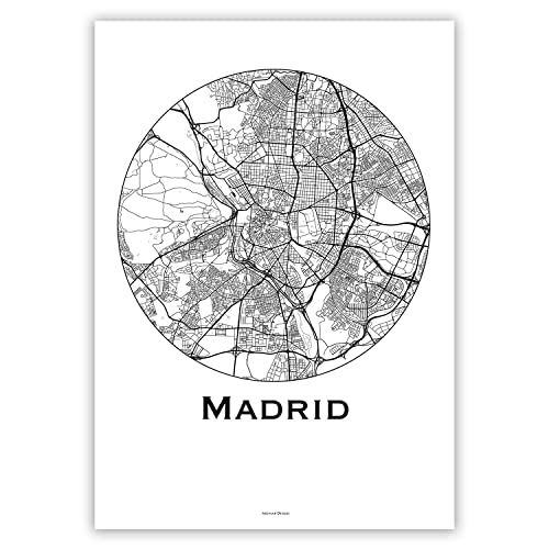 Cartel Madrid España Minimalista Mapa - City Map, decoración ...