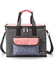 Sacs isothermes grande capacite 20L, portable sac isotherme repas femme /homme, pour barbecue pique-nique camping plage... (Gray-20L)
