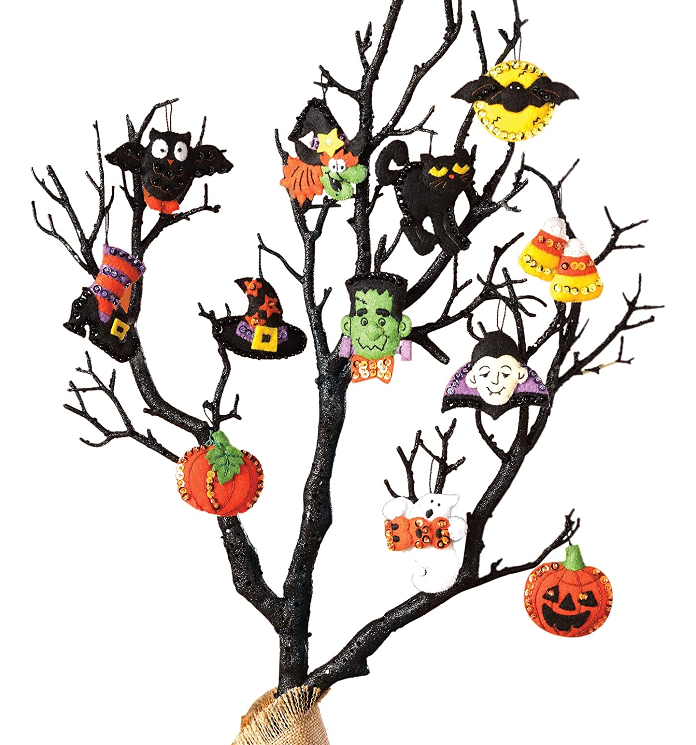 Bucilla 86430 Halloween Felt Applique Ornaments Kit Size 2 by 2.5 Inch, Set of 12