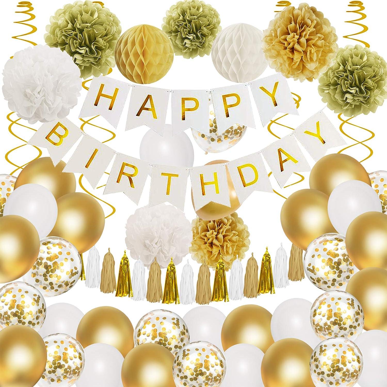 Happy Birthday Party Decorations Set, Gold Birthday Decorations with Happy Birthday Banner, Paper Flowers, Confetti Metallic Latex Balloons, Hanging Swirls for Kids Girls Women Birthday Party Decor