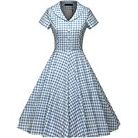 GownTown Women's 1950s Vintage Cap Sleeve Plaid Swing Dress with Pockets