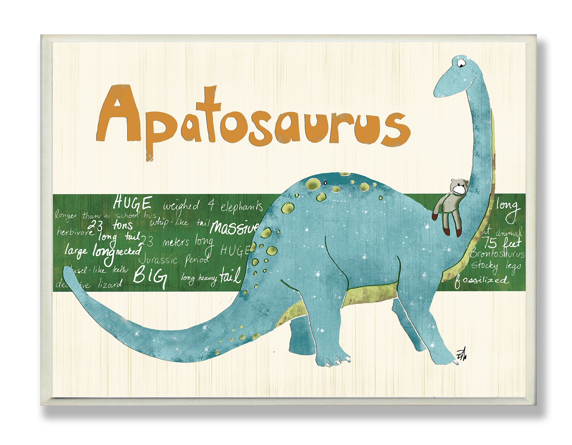 The Kids Room by Stupell Apatosaurus Dinosaur Rectangle Wall Plaque, 11 x 0.5 x 15, Proudly Made in USA by The Kids Room by Stupell