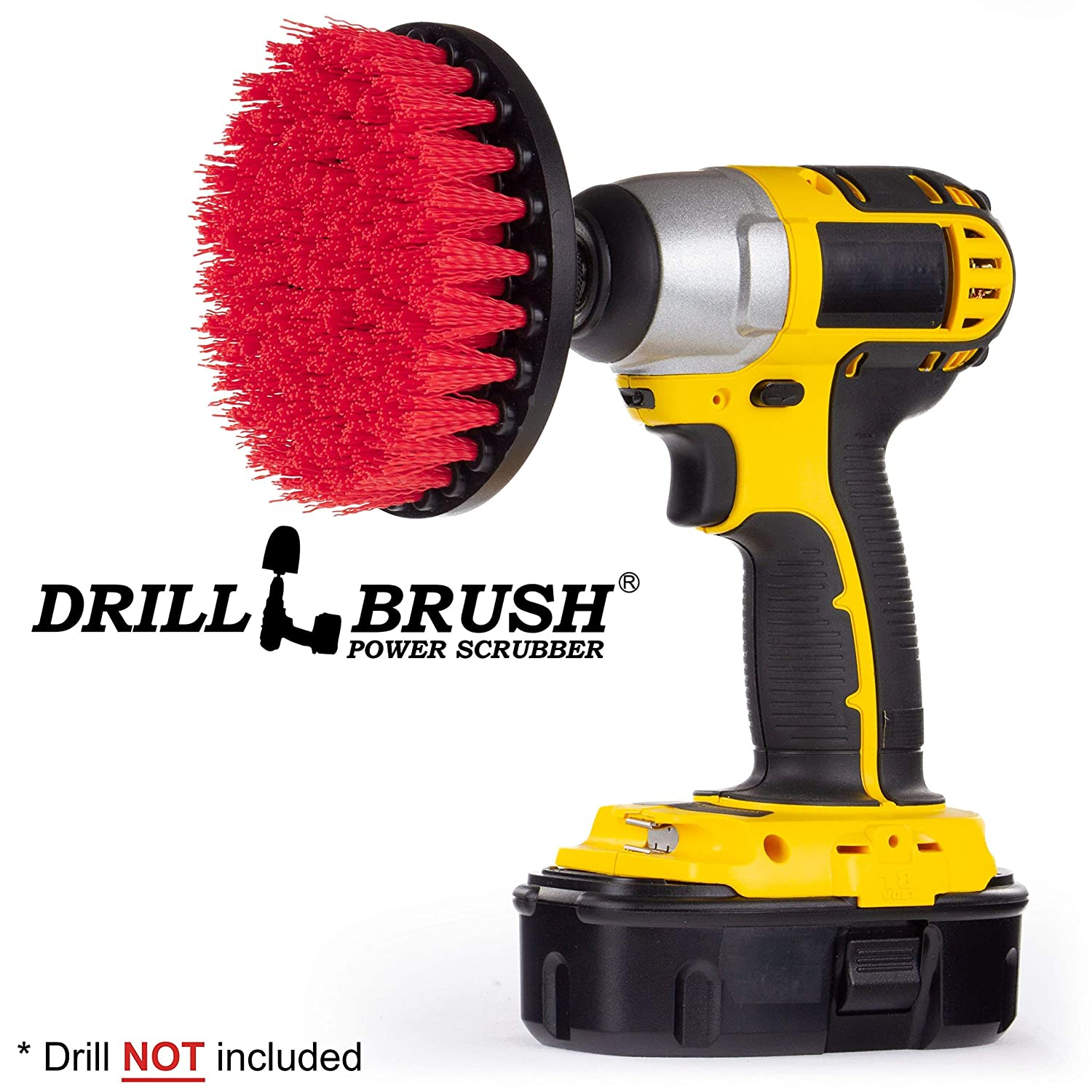 Drill Brush - Deck Scrub Brush - Bird Bath - Garden Statues - Clean and Remove Algae, Mold, Lichens, Mildew, Moss, Oxidation - Granite, Marble Cleaner - Outdoor Fountains - Headstones, and Monuments Drillbrush 5in-Lim-Red-Short-QC