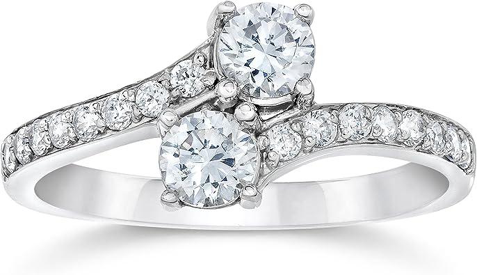 1ct Round Cut Diamond Engagement Ring 14ct White Gold Over Half Eternity Wedding