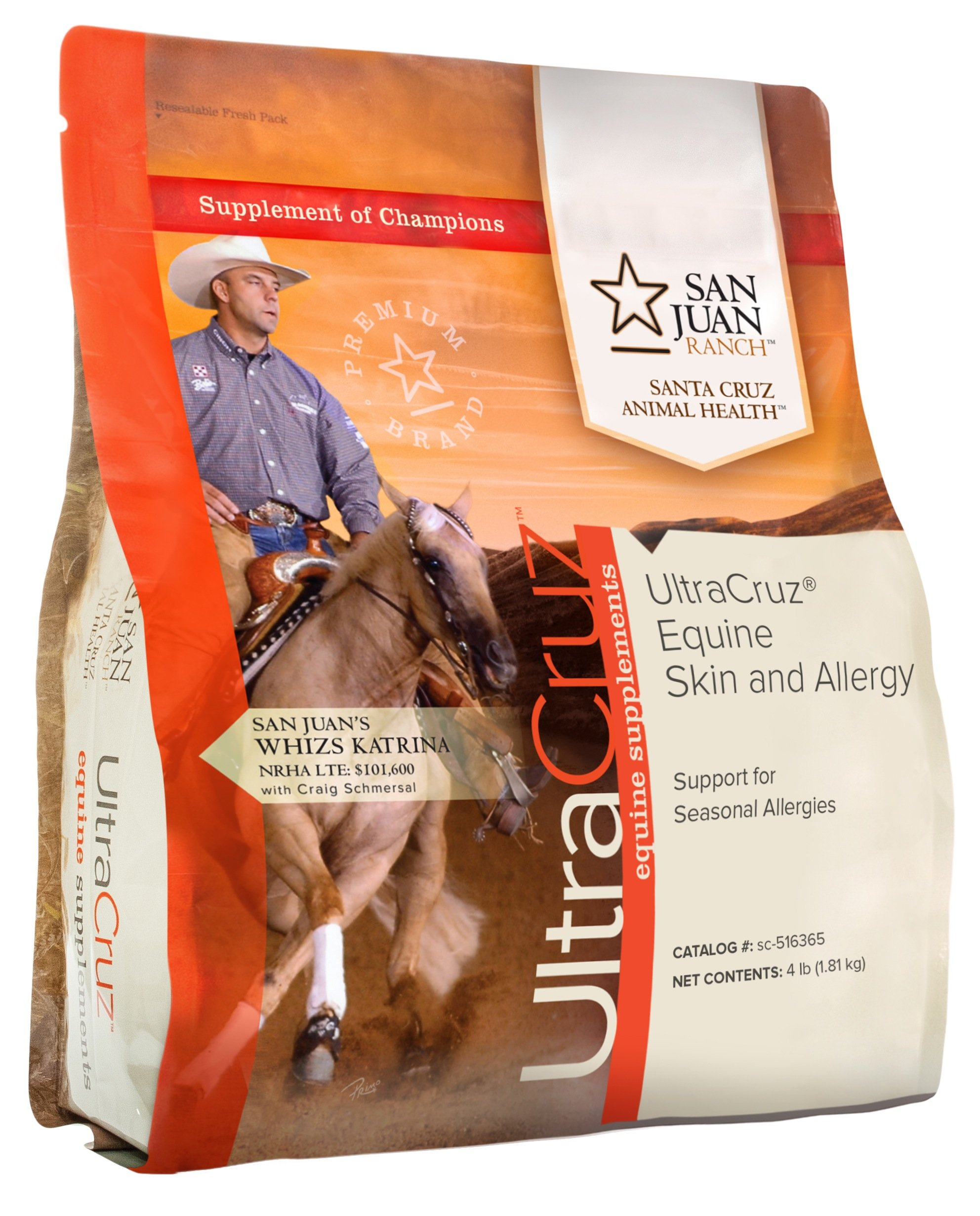 UltraCruz Equine Skin and Allergy Supplement for Horses, 4 lb, Pellet, (31 Day Supply)