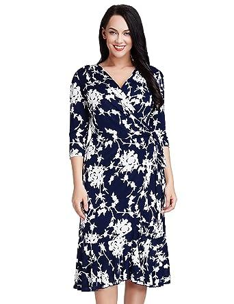 d9adc2fb47d LookbookStore Women s Plus Size 3 4 Sleeve Navy and White Ruffle Midi Wrap  Dress 2X
