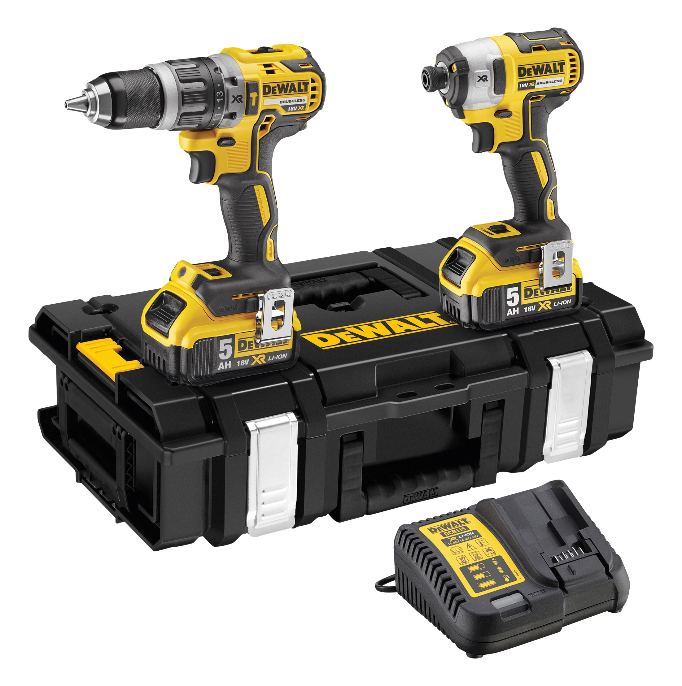 Dewalt DEWPDCK266P2 DEWDCK266P2 DCK266P2 XR Brushless Twin Pack 18V 2 x 5.0Ah Li-Ion, 18 V, Yellow