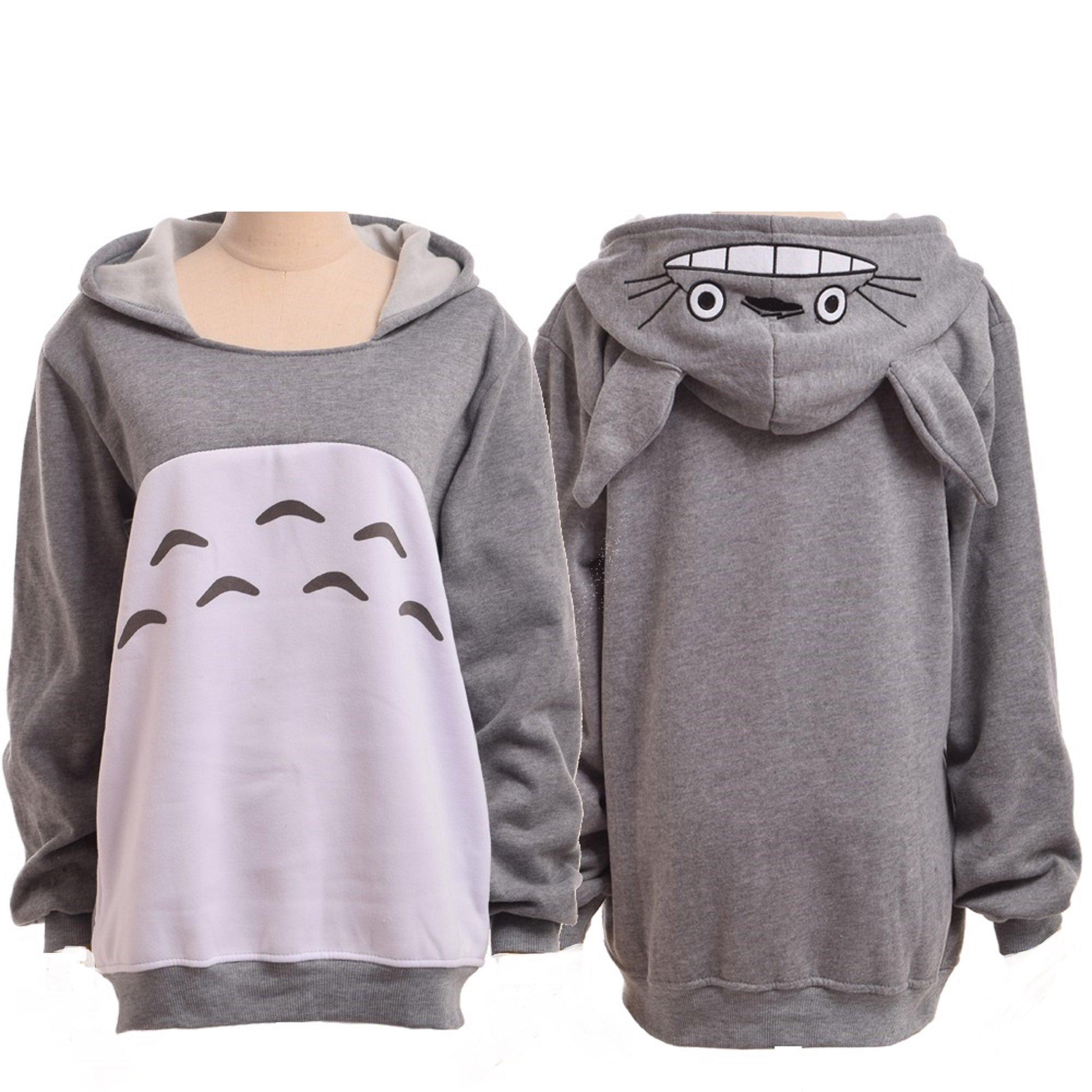 Double Villages Unisex Anime Sweater Shirt My Neighbor Totoro Long Sleeve Fleece Hooded Sweatershirt with Ears Grey(M)