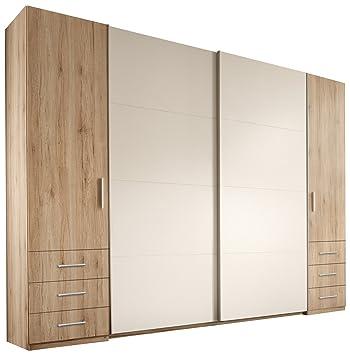 Stella Trading Store 4-türiger Kleiderschrank, Holz, san remo/weiß ...