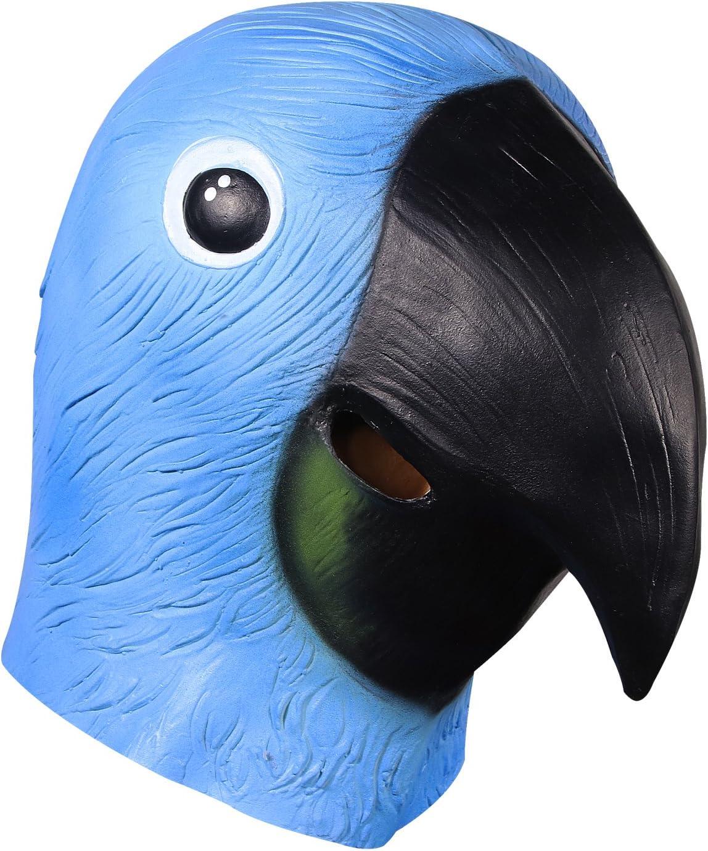 molezu Máscara de Cabeza Loro, Máscara la Cabeza Animal látex, Accesorios de Halloween Disfraces Cosplay decoración máscara del pájaro Lindo.