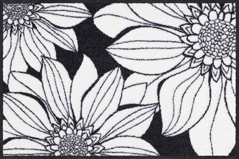 Salonloewe Fußmatte weiss schwarz Größe 75x120 cm