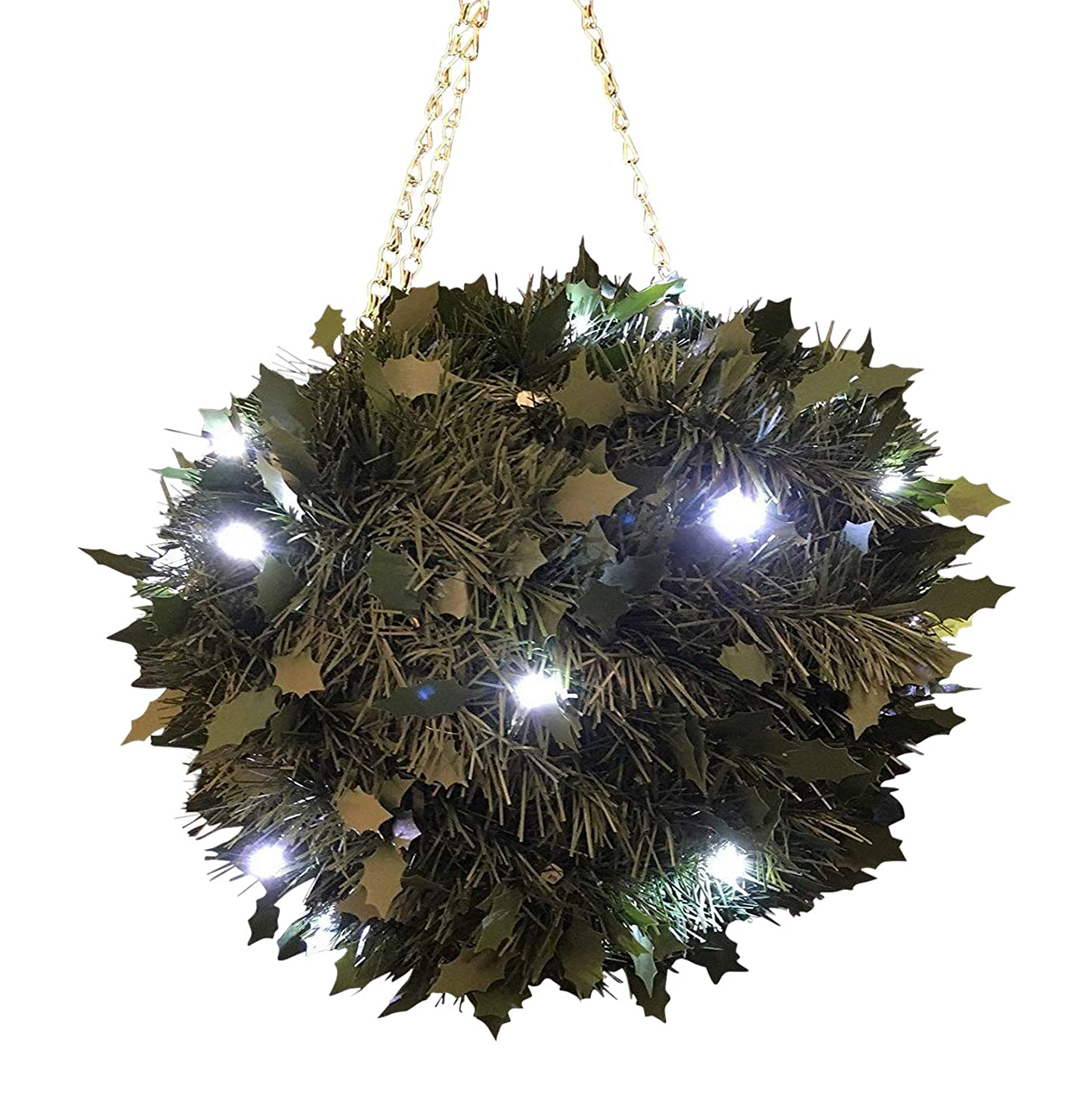 Large Artificial Topiary Ball - Battery Operated LED Lit Green Hanging Holly Topiary Ball with Lights HomeAndGarden.UK