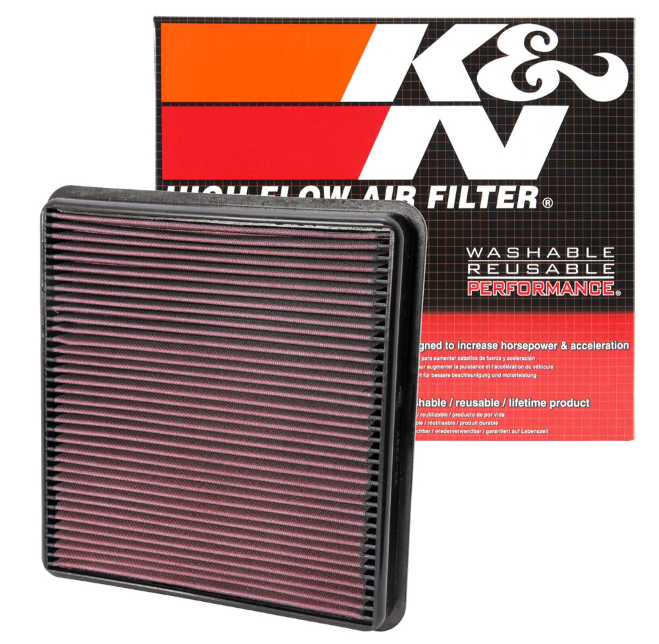 K&N engine air filter, washable and reusable:  2007-2019 Toyota/Lexus V8 Truck and SUV (Land Cruiser, Tundra, Sequoia, LX 570) 33-2387 by K&N Engineering